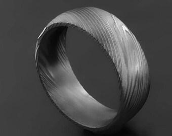 Handmade Damascus Steel Wedding Band for Men Damascus Engagement Ring for Men (only one)