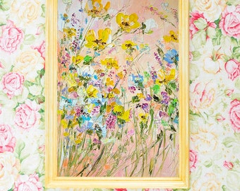 Paintings On Canvas Large Canvas Art Work Floral Abstract Bright Bohemian Large Art Print Boho Yellow Beige Blue Original Wildflowers Field