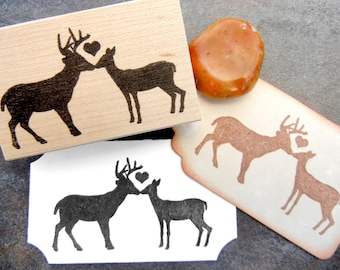 Buck and Doe Deer Kissing Rubber Stamp -  Handmade by Blossom Stamps