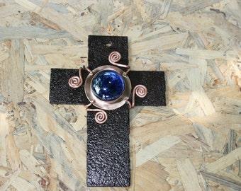 Metal Cross, Home Decor, Blue glass Cross,  Wall Hanging Cross, Metal Cross