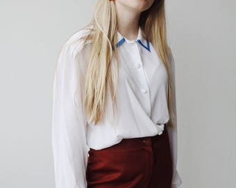 LOUISE  BLOUSE | Vintage white blouse with blue lined collar | white blouse | vintage blouse | ABLE shoppe