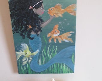 She Dreams of the Ocean ~ Hand Painted Wooden Sign ~ Mermaid Sign