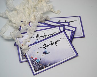 Purple Butterfly Thank You Tags, Pink and Blue Set of 8 Butterfly Gift Tags, Thank You Tags with Glitter accents
