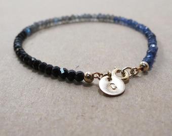 Labradorite, Gemstone Bracelet, Beaded Bracelet, Personalized Bracelet, Gift for Mom, Iolite, Initial Bracelet, Custom Bracelet