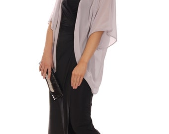 Chiffon Cardigan Cover Up Kimono Sleeves Wide Loose Fit Grey