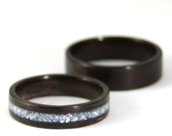 Wooden Wedding Ring Set - Rosewood Wood Ring With Pearl Inlay And Classic Rosewood Wooden Ring