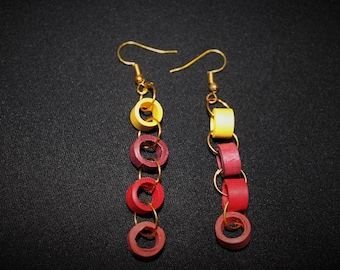 Rolled Paper Earrings - Red and Yellow Chain