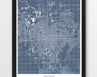 Wichita street map Etsy