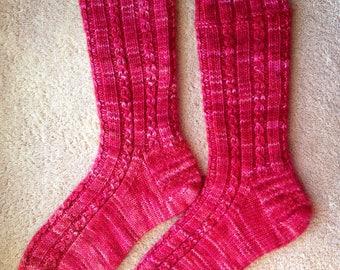 Tricotés à la main Womens Cachemire laine mélangée chaussettes (S-255)
