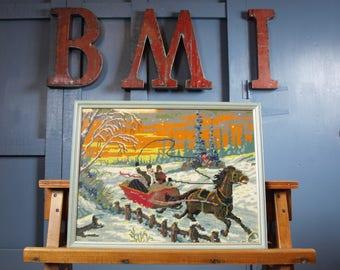 Vintage 1960s Large Framed Glazed Cross Stitch Art Festive Picture Xmas Snow Scene