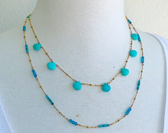 Apatite and Turquoise Simple Necklace