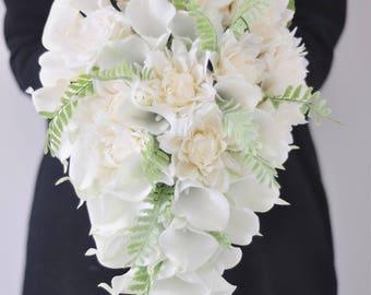 Cascade Cream White Mint Calla Lily Wedding Bouquets Romantic Elegant wedding bouquet