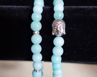 Aquamarine set of 2 bracelets. Diamante. Buddha head. Semi precious. Handmade.