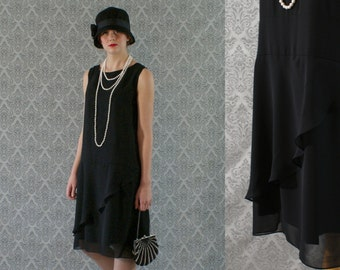 Elegant black flapper dress, with ruffled skirt detail, Great Gatsby dress, Roaring 20s dress, 1920s flapper dress, Charleston dress
