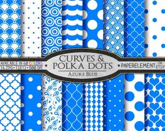 Azure Blue Polka Dots & Curves Digital Scrapbook Paper - Digital Polka Dots Shapes Backdrop Hearts Background Printable Quatrefoil Pattern