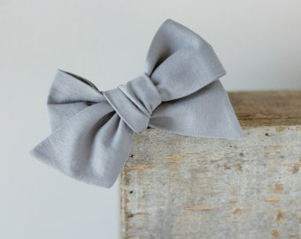 Grey baby headband, baby girl headband, school girl bow, hand tied bow, big bow, bows for babies