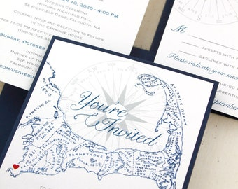 Cape Cod Wedding Invitations, Cape Cod Map Invitation, Personalize with a heart, optional addressing