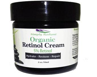 Organic Facial Moisturizer - Retinol Night Cream 5% + Hyaluronic Acid & Palmitoyl Tripeptide 38 Retinol Cream