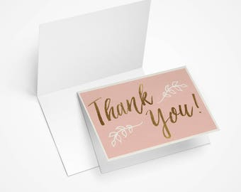 Rose Gold Thank You Cards with Envelopes