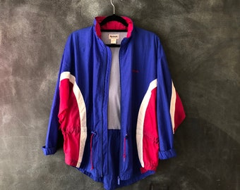 80s 90s Reebok Windbreaker Parka Nylon Jacket Color block Fishtail Anorak Athletic Athlesiure Tennis Sports Rain jacket Size M