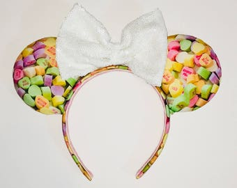 Valentines Day Mickey Ears - Conversation Hearts - Disney Inspired Mickey Ears - Minnie Ears - Mouse Ears - Valentines Day - Candy Ears