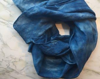 Lightweight blue scarf, indigo summer scarf, hand dyed scarf, naturally dyed wool and silk scarf, indigo shibori, gift for her