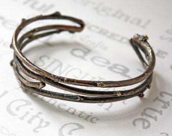 Golden Brass Woodland Cuff Bracelet  Nature Inspired Rustic Twig Bracelet  Unisex Twig Cuff Bracelet