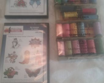 DMC/ Creative World/Cotton Machine Embridery Thread Sample Pack/Sewing/Crafting/Software/Singer/DVD/Designs/Colorful/Set/Package/New