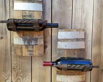 Wine Barrel Display Rack - Cast Iron - Winery - Wine Bottle - Wine Cellar - Towel Rack - Wine Bottle Display - Wall Decor - Reclaimed Wood