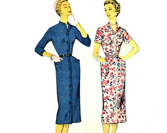 Vintage 50s Dress Pattern ADVANCE Pattern 7856 Button Front Slim Fit Sheath Dress Pattern 1950s Sewing Pattern Bust 32