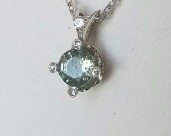 Green Sapphire and Diamonds Solitaire Pendant 14kt White Gold