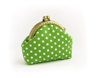 Green purse, Polka dots coin purse, Apple green change pouch, Frame coin purse, Kisslock handmade purse