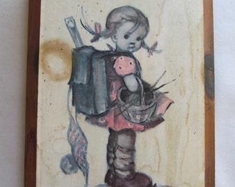 Hummel Girl Backpack Hummel Picture on Wood Hummel Print Bohemian wall Decor Hummel plaques Vintage Hummels