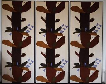 2 Available: Vintage KNOLL Abstract Print Velvet FABRIC PANEL Wall Art, 2' x 5', Mid-Century Modern eames era girard marimekko floral tribal