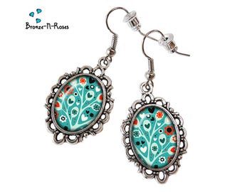 """Tree of LovE"" earrings cabochon turquoise flowers silver costume jewelry"