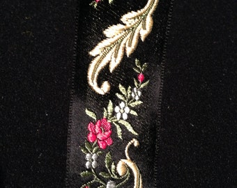 Vintage French Black Floral Inch Wide Ribbon from the 1930s