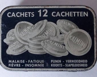 Rare Vintage French Empty Kalmine Tin Cachets Chemist Medicine Medical Advertising Collectables