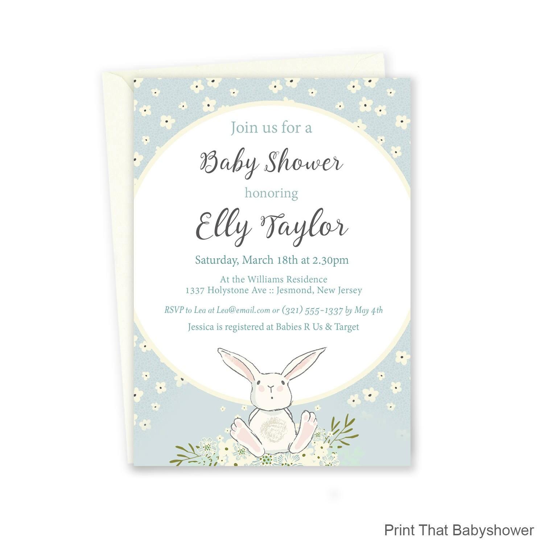 Baby Shower Invitation Bunny Baby Shower Printable