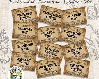 Fairy Faerie Apothecary Potion Bottle Labels Halloween Witch Digital Download Jar Tags Vintage Clip Art Printable Collage Sheet DIY Image