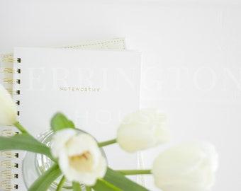 Notebook stock photography | White stock image - Tulips stock photo - Business stock photo - Flower stock photo - Minimalist stock image