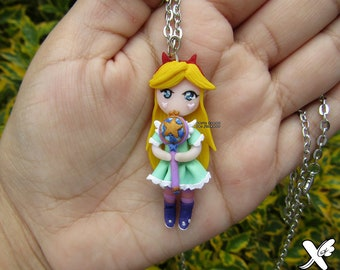 Star Butterfly Necklace||Star vs. the Forces of Evil||Svtfoe||Cartoon||Chibi||Disney||Polymer clay||Fimo||Magic girl