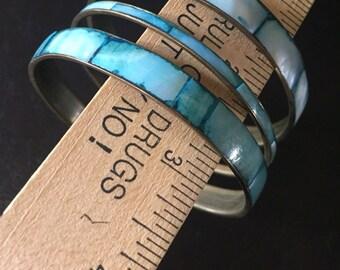 Vintage Brass and Shell Bangle bracelets