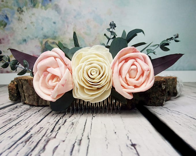 Ivory blush pink rose boho wedding HAIR COMB Bridal hairpiece Sola Flower eucalyptus greenery accessory maroon stabilized greenery