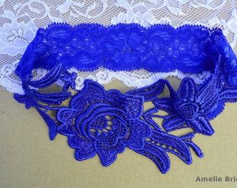 Blue Garter, Wedding Garter, Blue Wedding Garter, Wedding Garter Set, Cobalt Blue Garter, Wedding Garter Blue, Blue Garters, Lace Garters