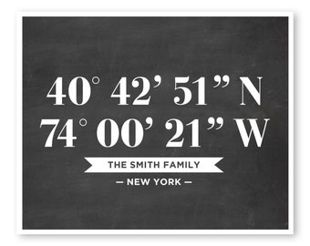 Coordinates Print, Family Print, Custom Coordinates, Latitude Longitude, Chalkboard Art, Family Art