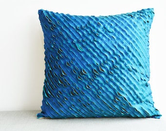 Blue and Turquoise , Textured & Frayed 3 Layer Faux Silk Cushion Cover , Textured Pillow Cover , Decorative Pillow, Throw Pillow