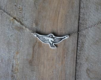 Bird fine silver oxidized necklace