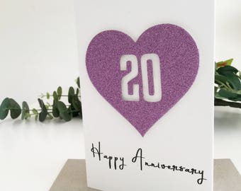 20 Year Anniversary Gift Ideas, 20th Anniversary Card, Wedding Anniversary, Gift for Husband, Gift for Wife, Handmade Card, Purple