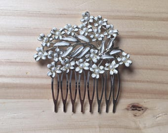Silver and White Enamel Hair Comb: Winter Vintage Leaf Pearl Wedding Costume Comb