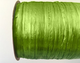 Pearl Celery Green Raffia Ribbon - 30/100 yards - 1/4 inch wide